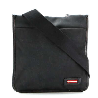 Bally Capal Crossbody Bag in Black Nylon Canvas with Leather Trim