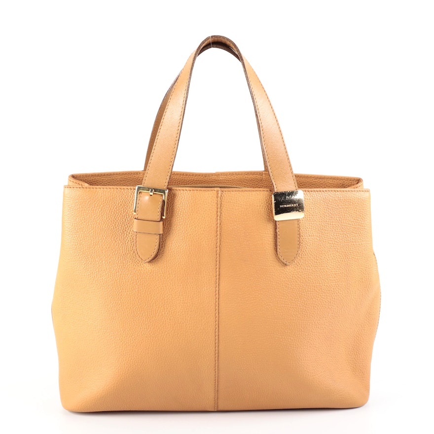 Burberry Grained Leather Tote Bag