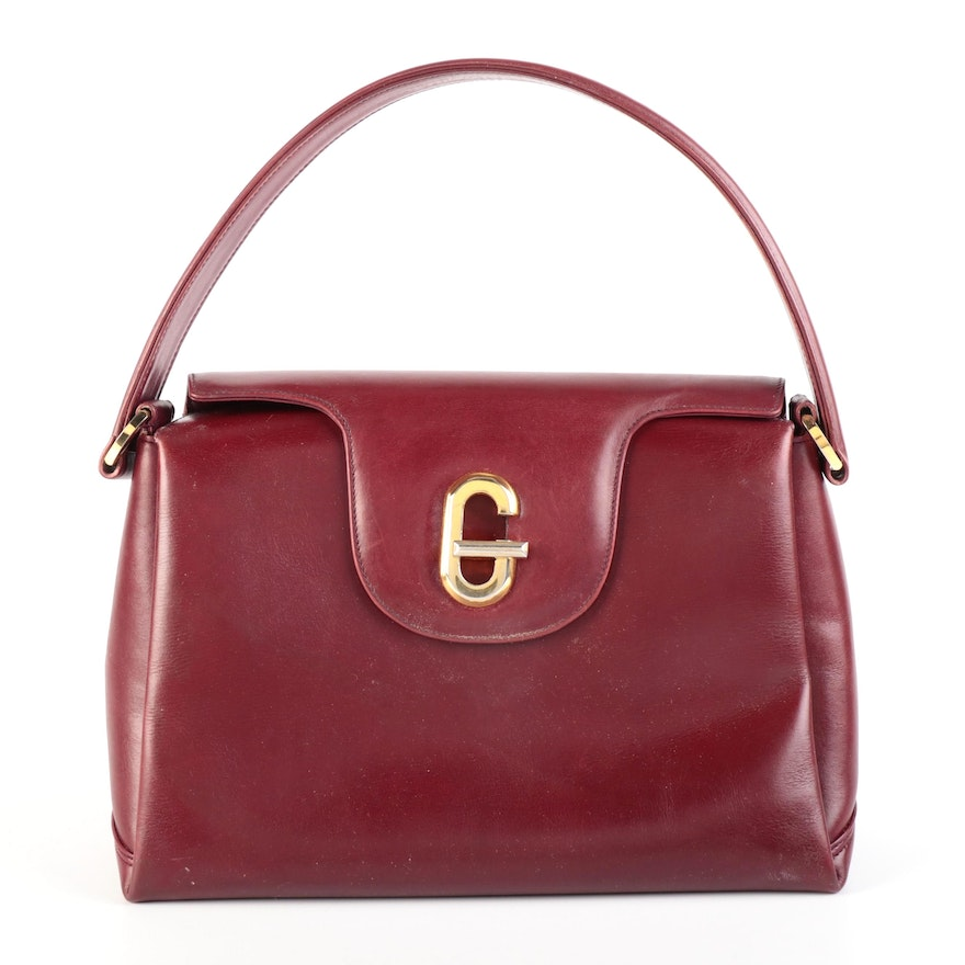 Gucci Jackie Twist Accordion-Style Handbag in Dark Red Leather with G Closure