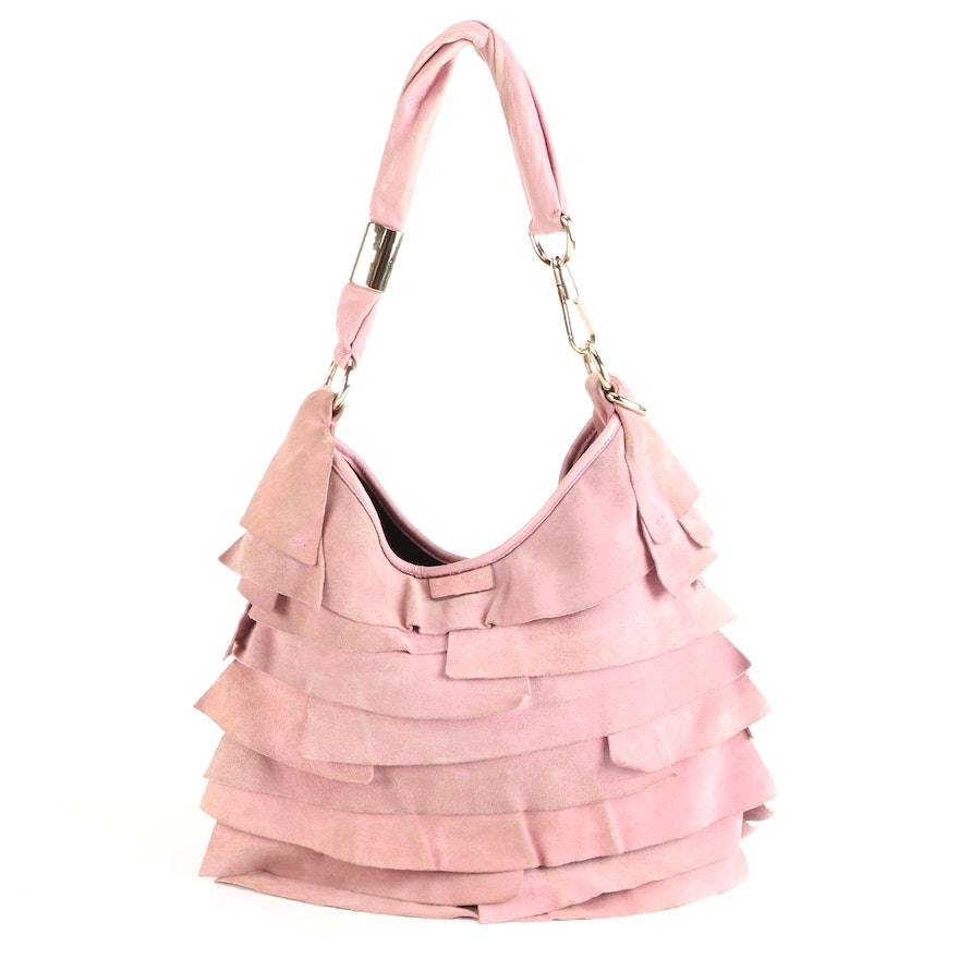 Yves Saint Laurent Rive Gauche Sac St. Tropez in Pink Suede and Leather