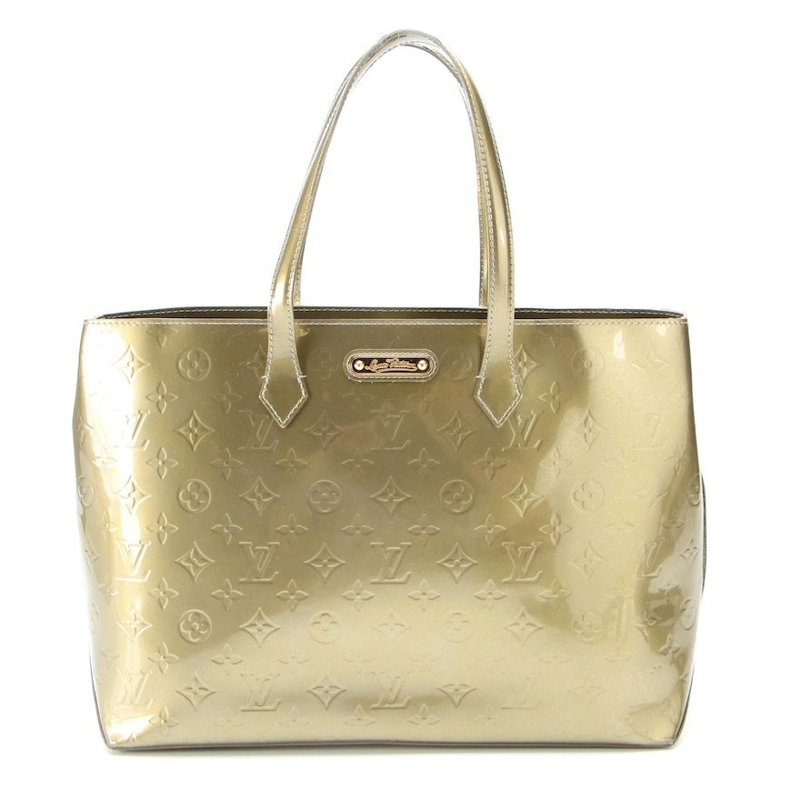 Louis Vuitton Wilshire MM Tote Bag in Vert Olive Monogram Vernis Patent Leather