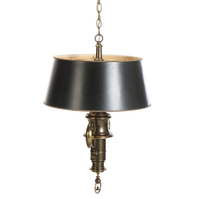 Baroque Style Brass Two-Light Hanging Pendant with Paper Shade