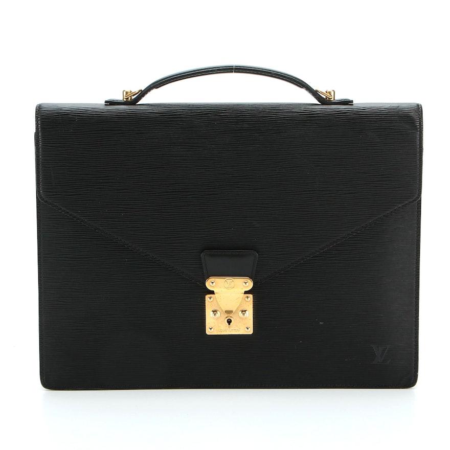 Louis Vuitton Porte Documents Bandouliere in Black Epi Leather