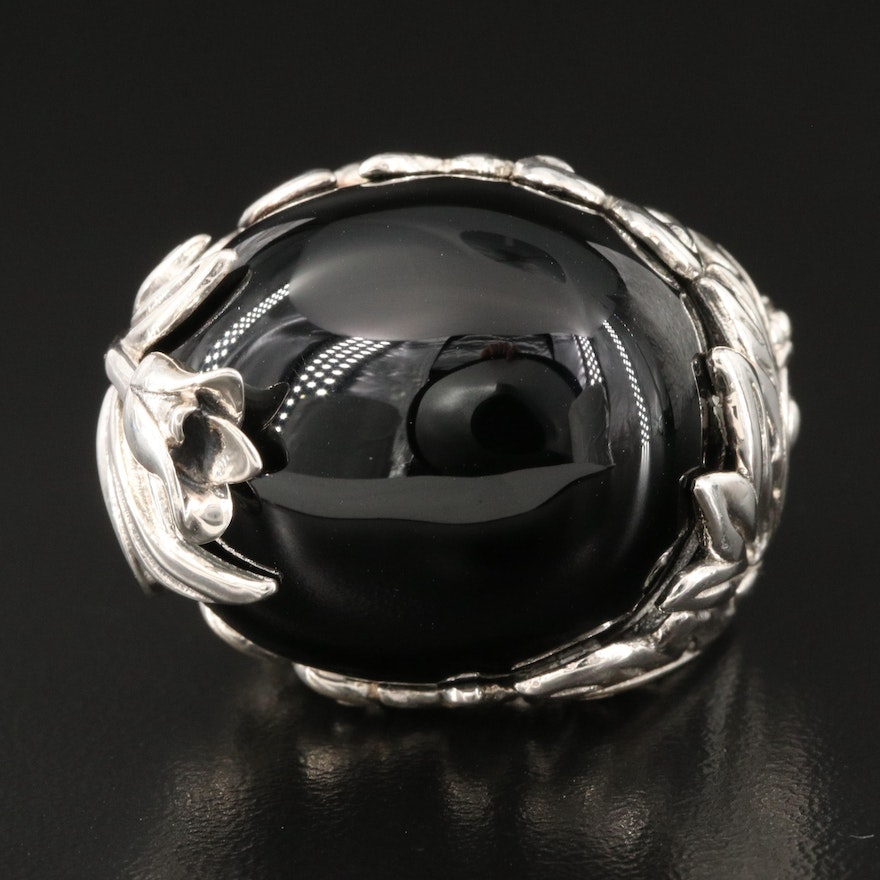 SeidenGang Sterling Silver Black Onyx Dome Ring with Foliate Detail