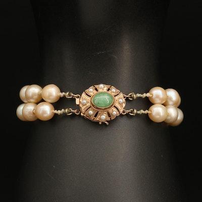 14K Pearl and Jadeite Double Strand Bracelet