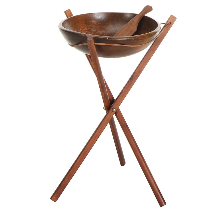 Oak Salad Bowl with Stand and Masher