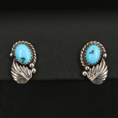 Southwestern Sterling Turquoise Feather Stud Earrings