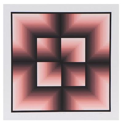 """Jurgen Peters Abstract Serigraph """"Window Motif,"""" 1982"""