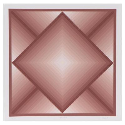 "Jurgen Peters Geometric Abstract Serigraph ""Diamond,"" 1977"