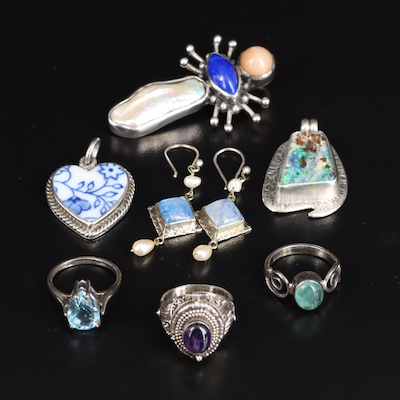 Sterling Collection with Poison Ring and Heart Pendant