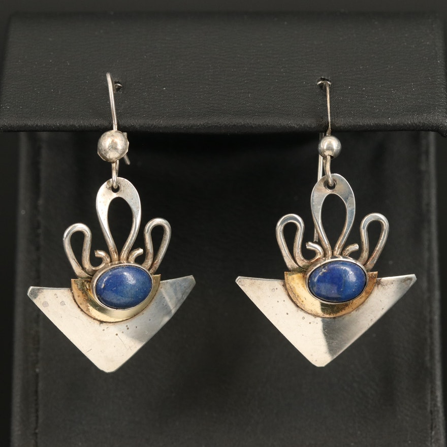 Modernist Sterling Triangular Drop Earrings with Lapis Lazuli