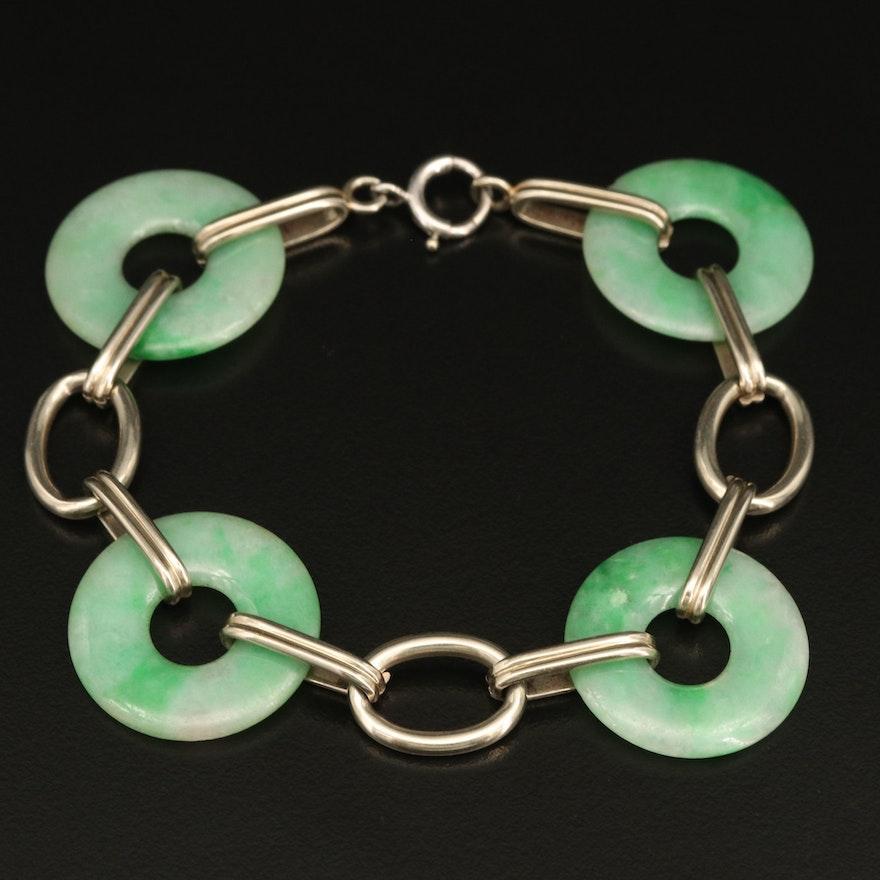 "Vintage 14K ""Bi"" Jadeite Bracelet"