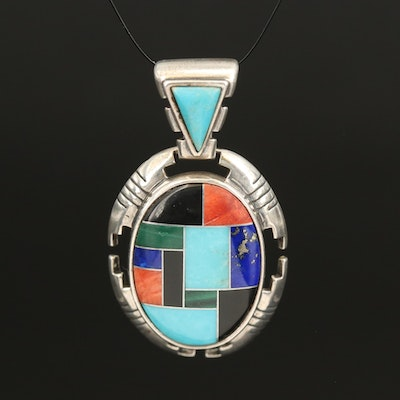 Carlisle Jewelry Co. Sterling Inlay Pendant with Spiny Oyster and Malachite