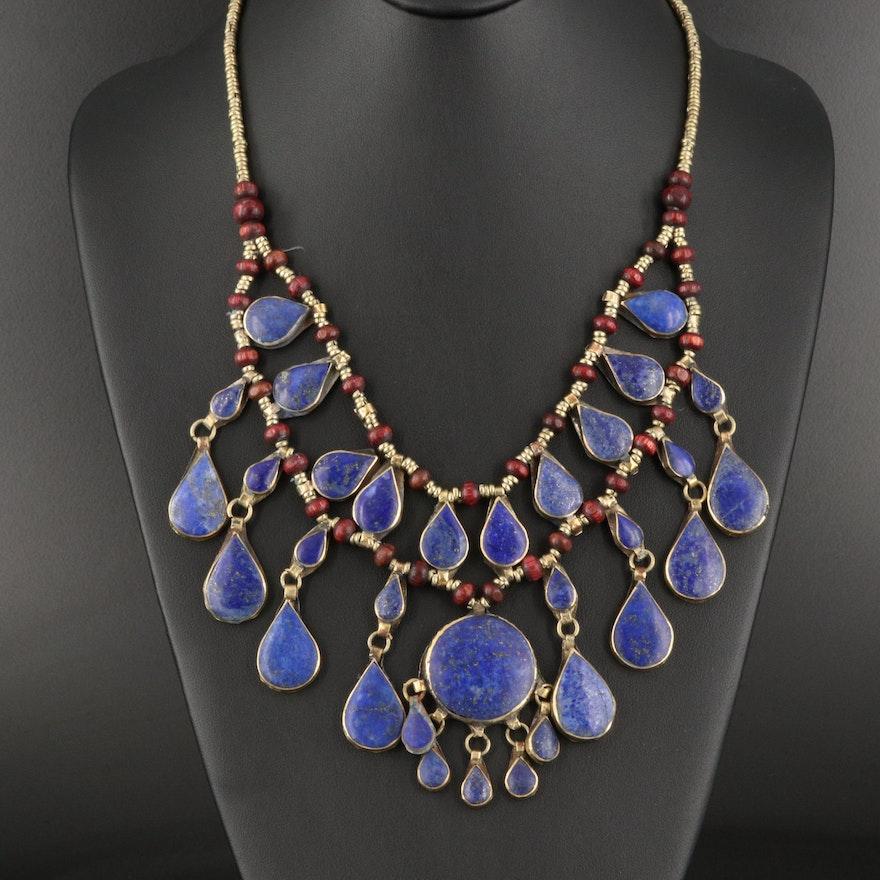 Afghan Kuchi Lapis Lazuli and Wood Necklace