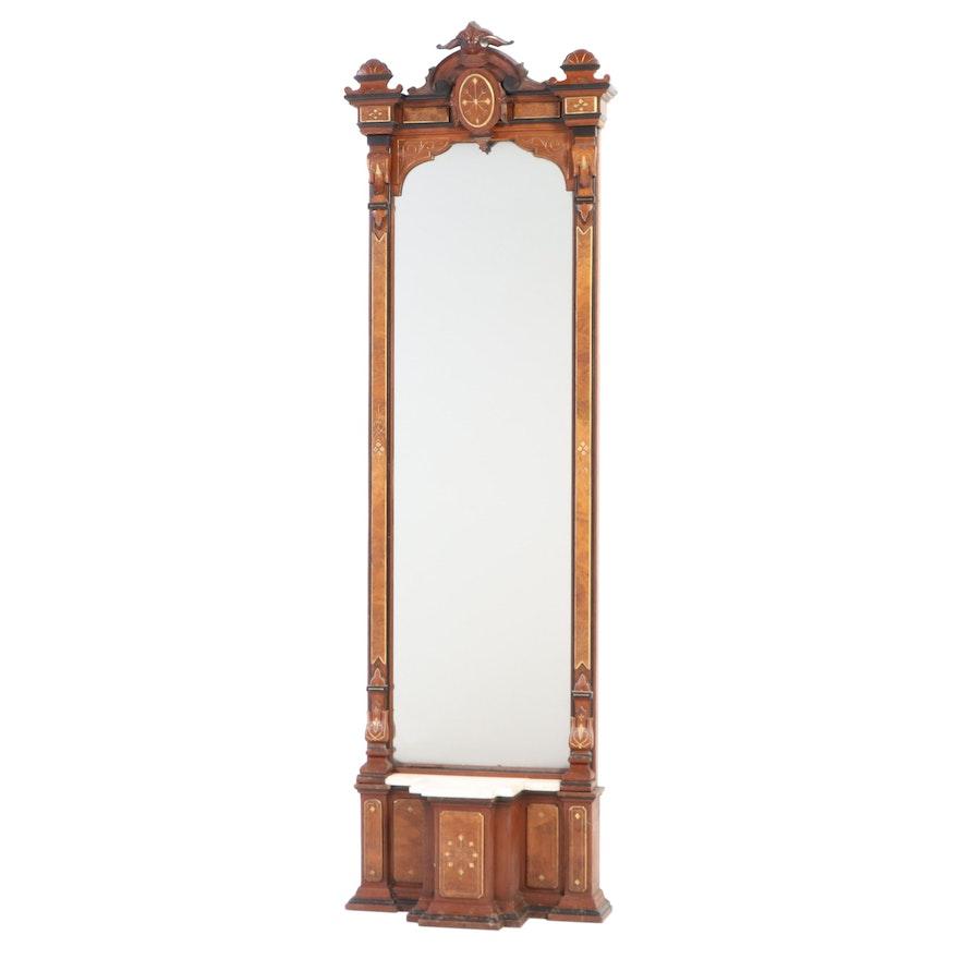 Renaissance Revival Walnut, Burl Walnut, Gilt-Incised, and Ebonized Pier Mirror