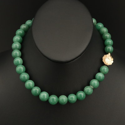 Aventurine Beaded Necklace with 14K Clasp