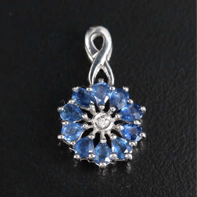 Sterling Sapphire and Zircon Floral Pendant