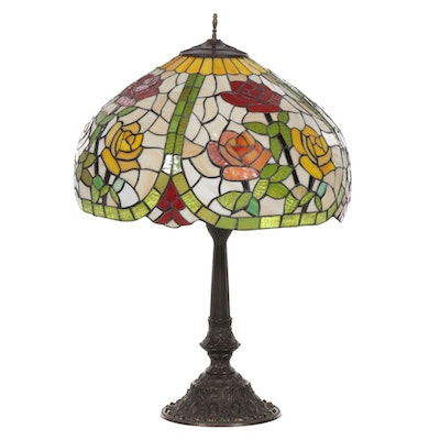 Multicolor Rose Panel Slag and Stained Glass Table Lamp