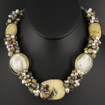 Jasper and Pearl Beaded Necklace