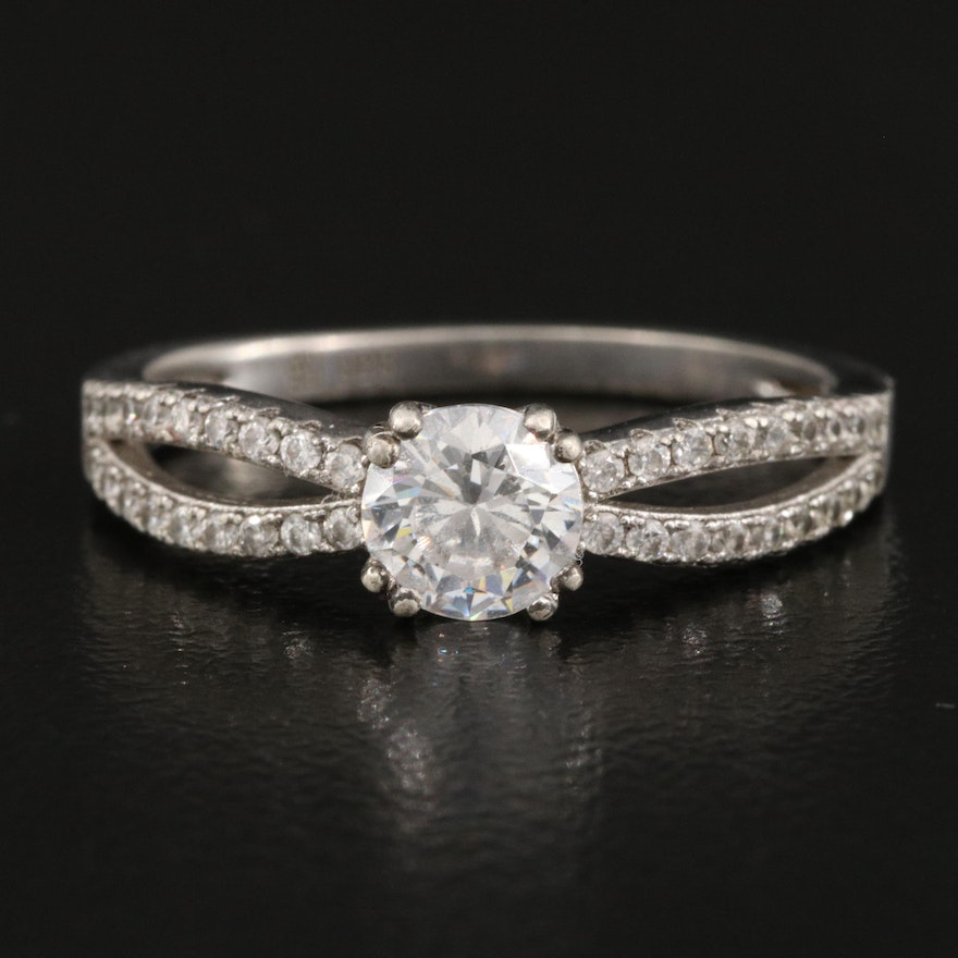 Sterling Cubic Zirconia Ring with Split Shoulders