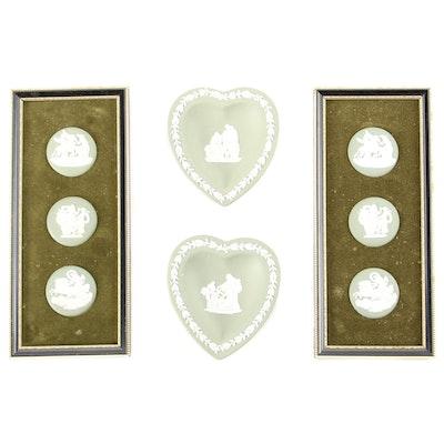 Wedgwood Sage Jasperware Heart Shaped Dishes and Framed Medallions