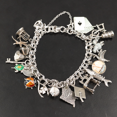 Vintage Sterling Charm Bracelet with Travel and Hobby Charms