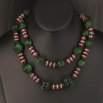Vintage Rhinestone and Glass Graduating Necklace