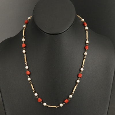 Italian 14K Coral and Pearl Station Necklace