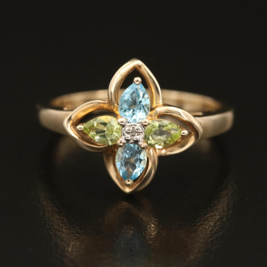 10K Peridot, Topaz and Diamond Quatrefoil Ring