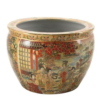 Chinese Satsuma Style Ceramic Fishbowl Jardinière, Late 20th Century