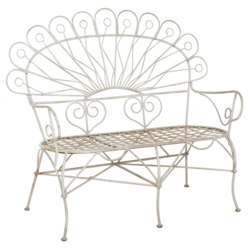 Painted Metal Peacock-Back Patio Loveseat, Mid to Late 20th Century