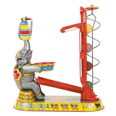 Josef Wagner Tin Lithograph Circus Elephant Toy, Late 20th Century