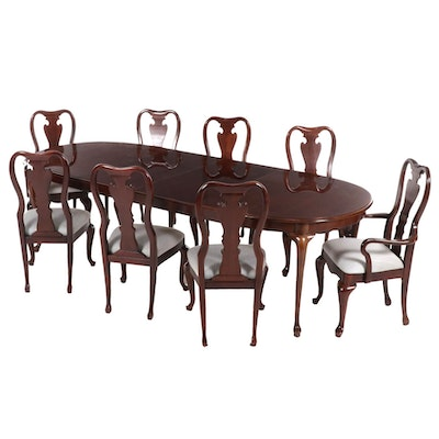 Thomasville Queen Anne Style Cherry Dining Table with Eight Chairs