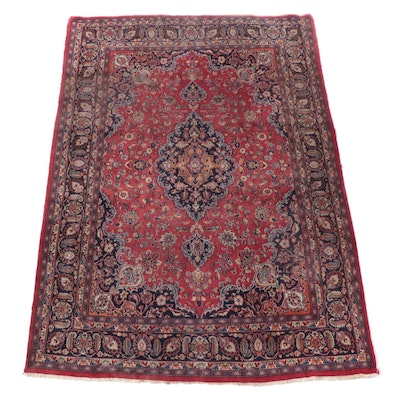 7'10 x 11'1 Hand-Knotted Persian Kashan Area Rug