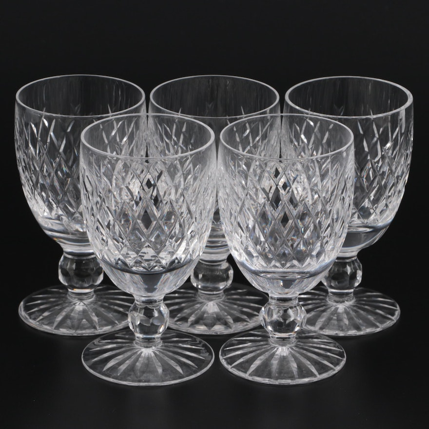 """Waterford Crystal """"Boyne"""" Claret Wine Glasses, Mid to Late 20th Century"""