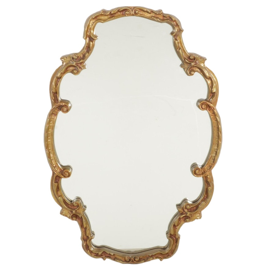 Rococo Style Giltwood Wall Mirror, Mid to Late 20th Century