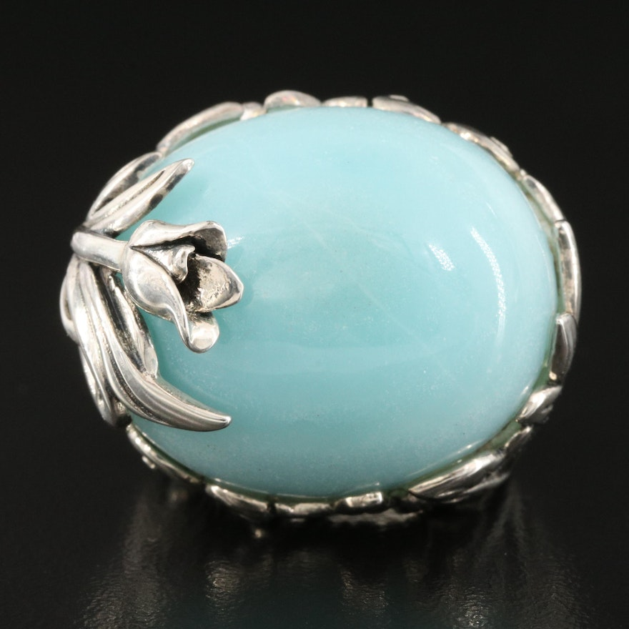 SeidenGang Sterling Silver Chalcedony Dome Ring with Foliate Setting