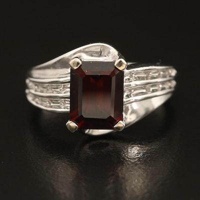 10K Garnet and Diamond Ring