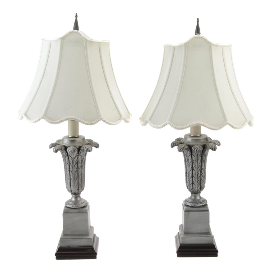 """Pair of Barbara Cosgrove """"Silver Feathers"""" Table Lamps"""