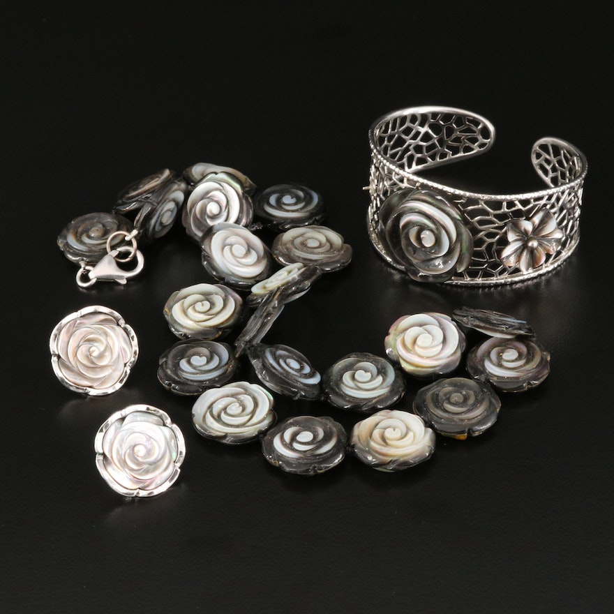 Sterling Black Mother of Pearl Rose Necklace Cuff and Earring Set