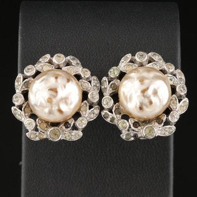 Vintage Mazer Faux Pearl Earrings