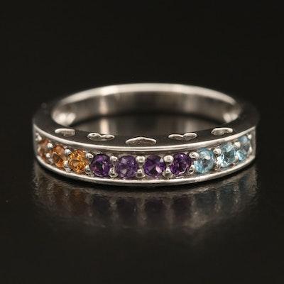 10K Topaz, Amethyst and Spessartine Garnet Peekaboo Heart Ring