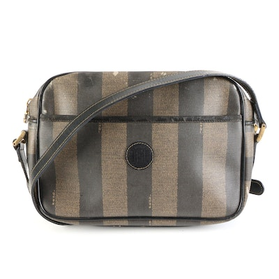 Fendi Crossbody Bag in Pequin Stripe Coated Canvas with Leather Trim