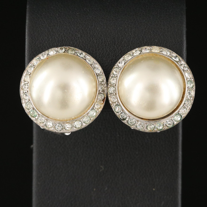 Vintage Reja Faux Pearl and Rhinestone Button Earrings