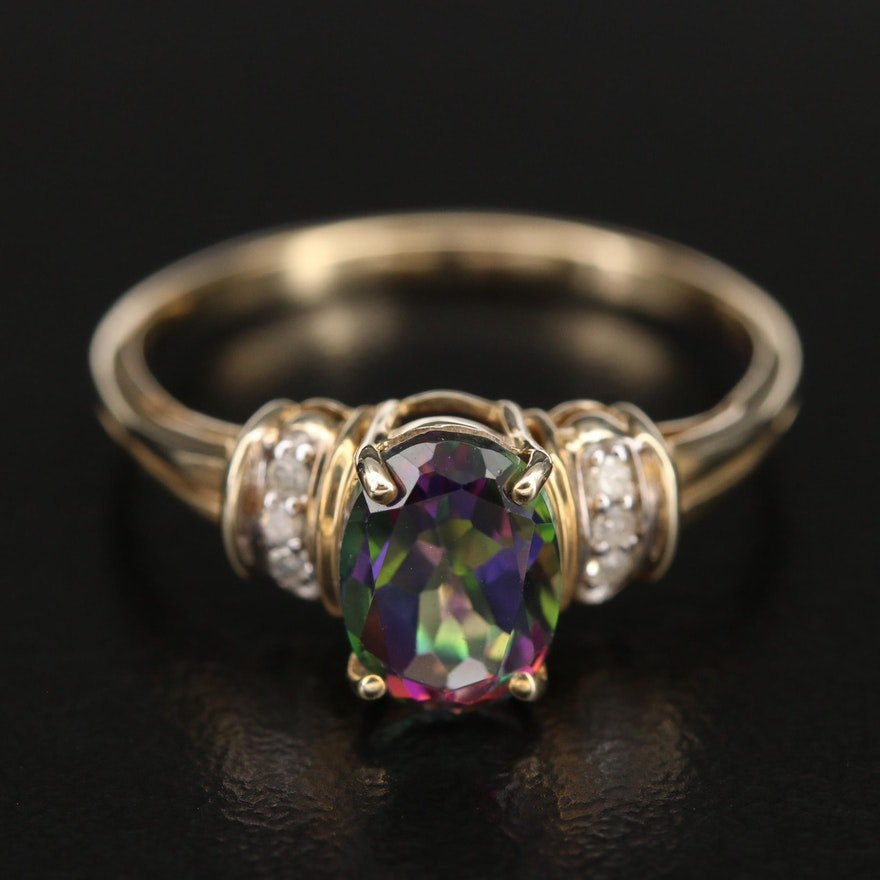 10K Mystic Topaz Ring with 0.04 CTW Diamond Shoulders