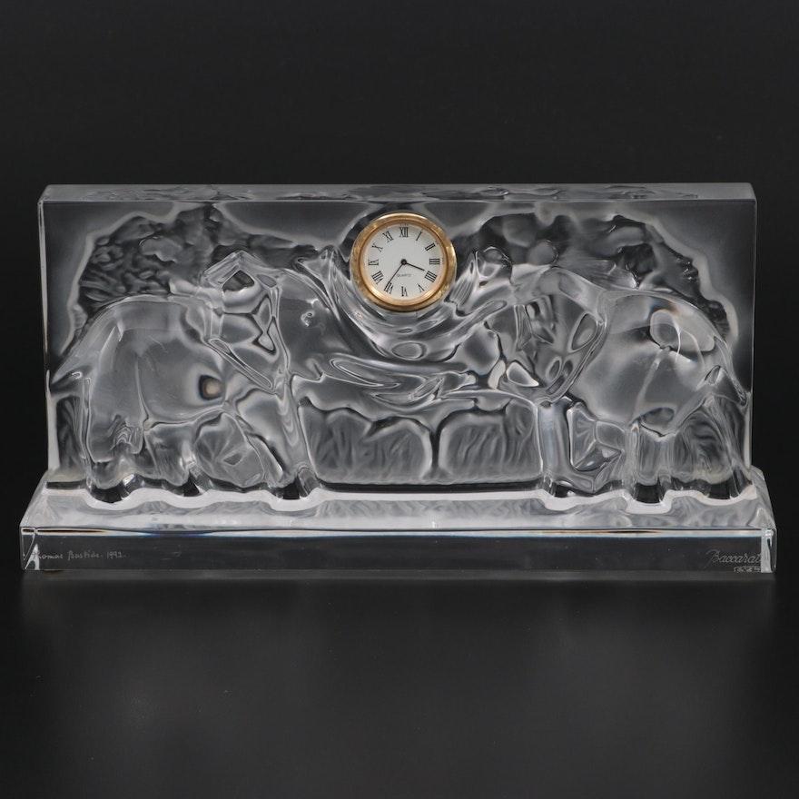 Thomas Bastide for Baccarat Crystal Desk Clock with Elephant Motif, 1992