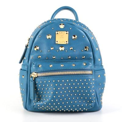 MCM Stark Bebe Boo X-Mini Backpack in Blue Leather