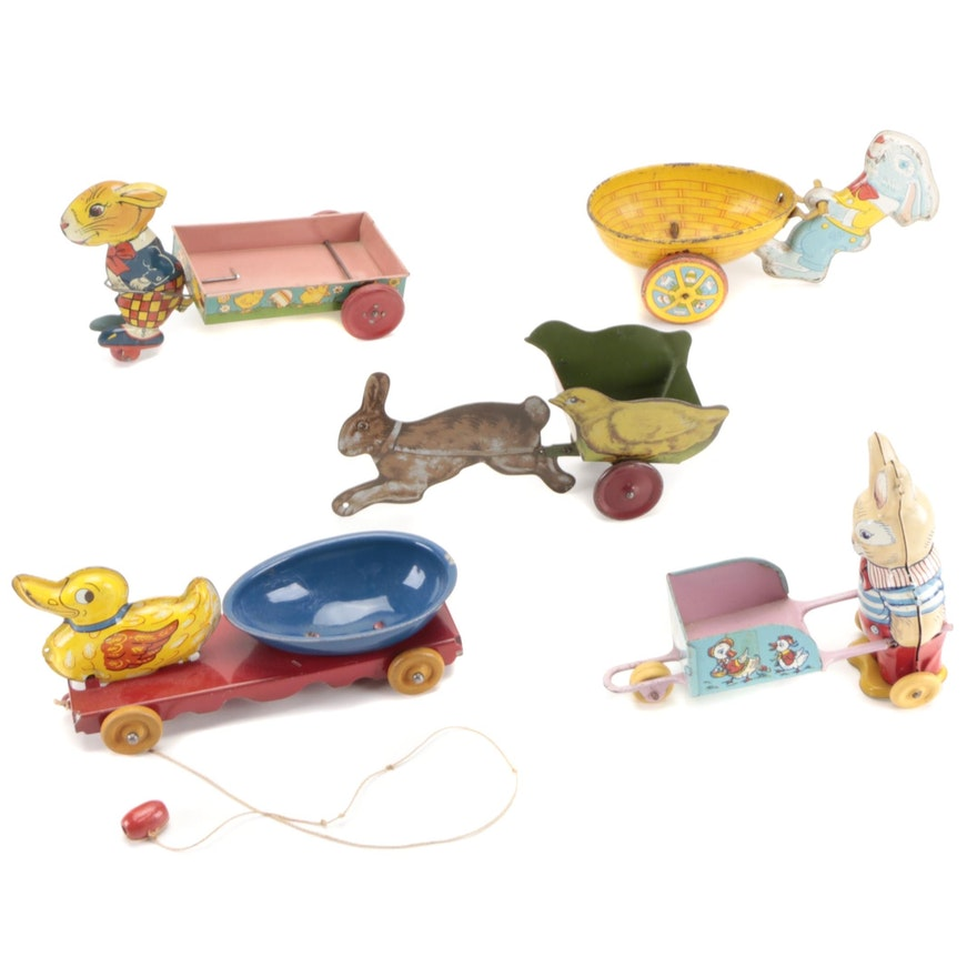 J. Chein and Other Tin Lithograph Easter Toys, Early to Mid-20th Century