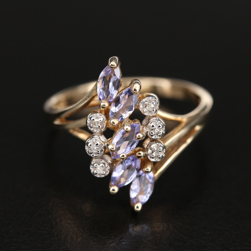 Sterling Tanzanite and Diamond Ring with Split Shoulders