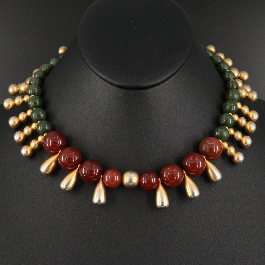 Vintage Carnelian, Serpentine and Black Onyx Fringe Necklace